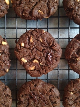 Gluten Free Double Chocolate Peanut Butter Chunk Cookies