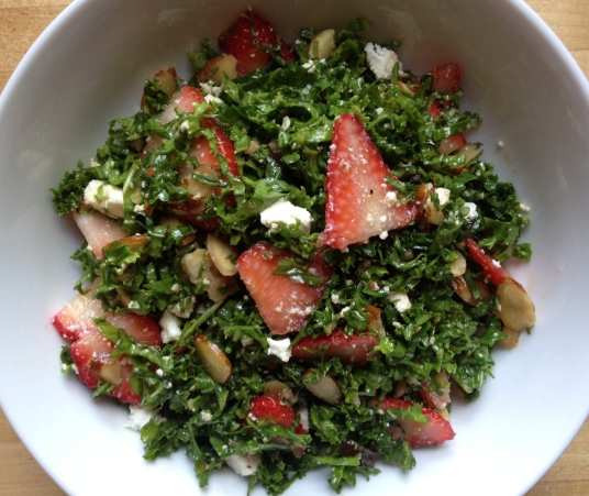 Strawberry Kale Salad Overhead