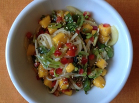 Rice Noodle Salad with Fresh Mango and Snap Peas