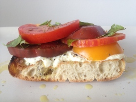 Heirloom Tomato Sandwich with Basil Lemon Ricotta