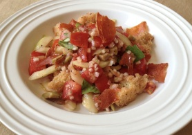 Italian Bread Salad with Crispy Prosciutto