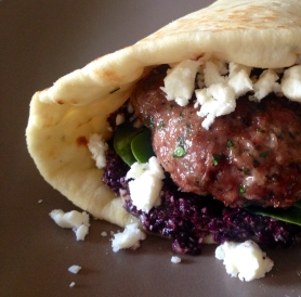 Lamb Burger with Feta Cheese and Olive Tapenade