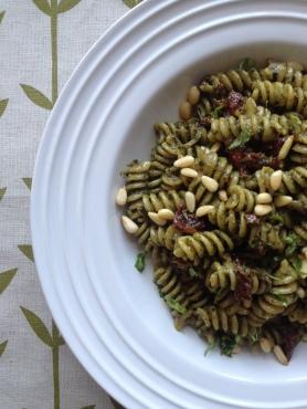 Fusili with Pesto and Sun Dried Tomatoes