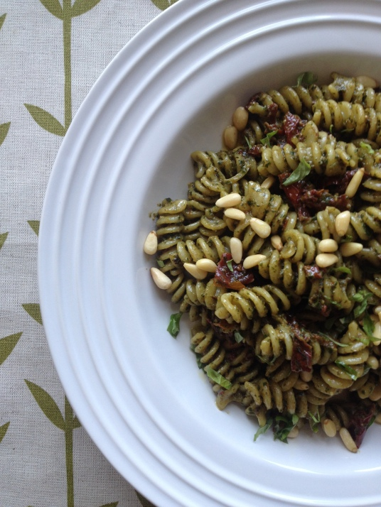 Fusili with Pesto and Sun Dried Tomatoes