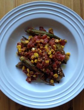 Pan Roasted Okra with Fresh Corn
