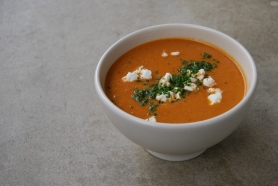 Spiced Roast Eggplant Tomato Soup