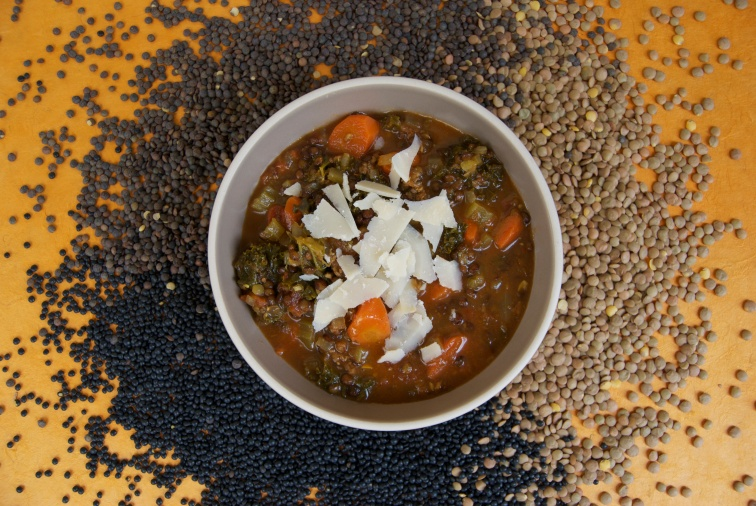 Lentil Stew with Spicy Sausage and Kale