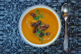 Sweet Potato Carrot Soup with Candied Pecans