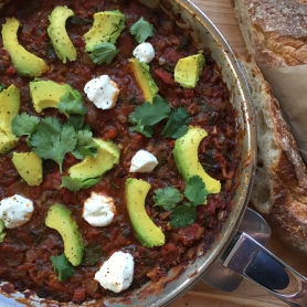 Shakshuka Goat and Avocado