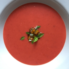 Strawberry Gazpacho - Overhead