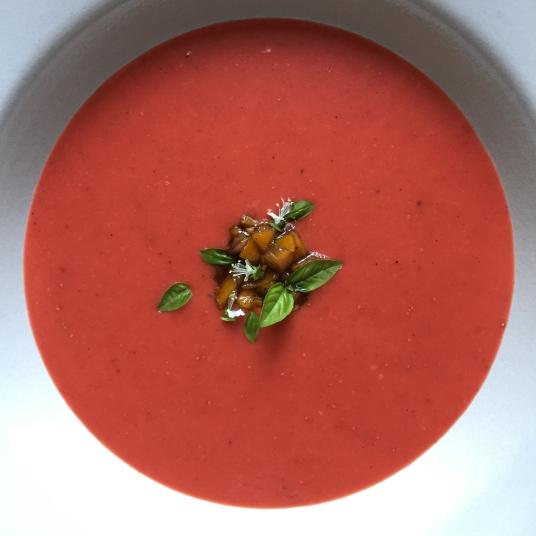 Strawberry Gazpacho - Overhead