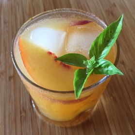 Yellow Peach and Basil Shrub